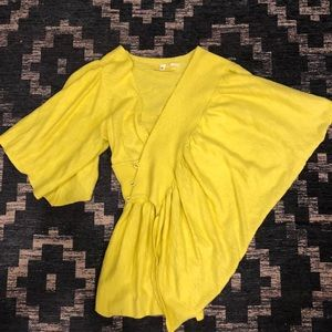 Anthropologie Moth Yellow Asymmetrical Sweater S/M
